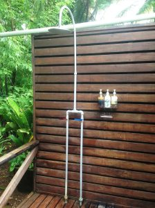 Outdoor Shower at Harmony Hotel